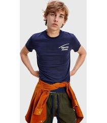 polera tommy jeans tjm stretch chest logo tee azul - calce regular