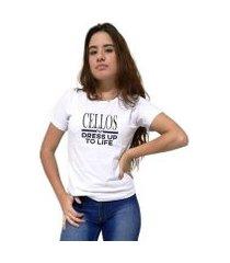 camiseta cellos dress up premium feminina