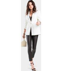 hayley faux leather blazer - white