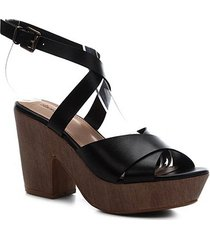 sandália couro shoestock clog madeira feminina