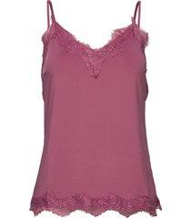 strap top w. lace blus ärmlös rosa coster copenhagen