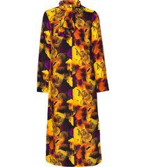 silk mix knälång klänning multi/mönstrad ganni