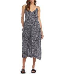 women's karen kane side slit sleeveless midi dress, size small - blue