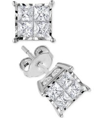diamond quad stud earrings (1-1/2 ct. t.w.) in 14k white gold