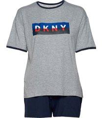 dkny new york energy tee & boxer set pyjama grijs dkny homewear