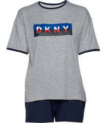 dkny new york energy tee & boxer set pyjama grijs dkny homewear