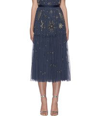 galaxy stars bead embellished midi skirt
