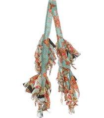 etro ruffled slim scarf - blue
