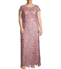 plus soutache-embroidered illusion gown