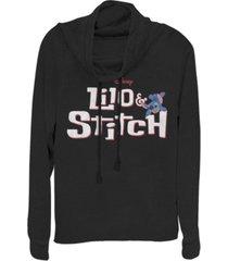 fifth sun women's disney lilo stitch logo fleece cowl neck sweatshirt
