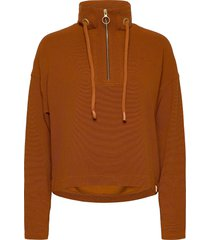 anorak sweat in structured quality sweat-shirt trui bruin scotch & soda