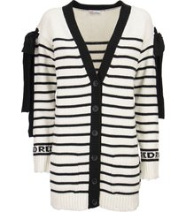 red valentino striped wool blend cardigan with bows