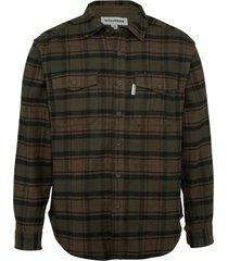 wolverine blake flannel shirt dark olive plaid, size xl