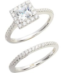 lafonn joined at the heart cushion cut halo wedding ring set, size 7 in silver/clear at nordstrom