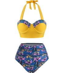 flower print moulded halter tummy control tankini swimwear