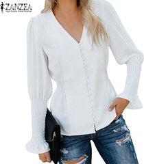 zanzea mujeres con cuello en v elástico puños botones de la camisa de las señoras tee sólido de la camiseta de la blusa -blanquecino