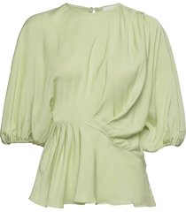 cora, 1110 viscose twill blouse lange mouwen groen stine goya