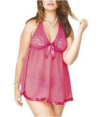 icollection plus size stretch babydoll 2pc lingerie set