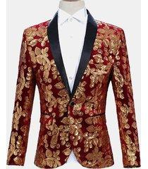 abito da uomo con paillettes floreali oro vestito da cerimonia per matrimoni di banqut night club