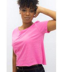 camiseta feminina t shirt cropped lisa edius rosa