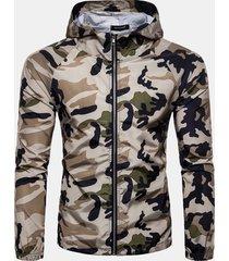 giacca con cappuccio per uomo, con cappuccio e stampa mimetica esterna a prova di sole
