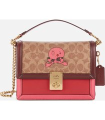 coach 1941 women's signature horse and carriage 2 by guang yu hutton shoulder bag - tan confetti pink multi