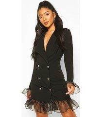 blazer jurk met geplooide organza zoom en knopen, zwart