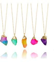 moda collana di pietra naturale druzy collana pendente di arcobaleno irregolare collana maglione per donna uomo