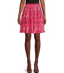kenzo women's pleated abstract skirt - deep fuschia - size 40 (8)