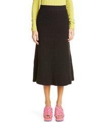 women's bottega veneta rib knit midi skirt, size x-small - brown
