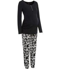 pigiama prémaman / da allattamento in cotone biologico (nero) - bpc bonprix collection - nice size