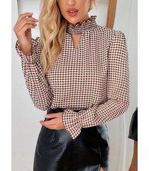 camicetta da donna a maniche lunghe con stampa pied de poule alta collo