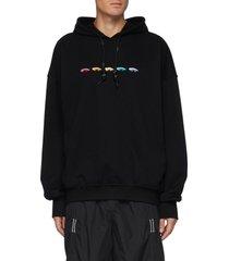 embroidered lizard motif hoodie
