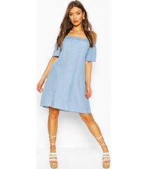 chambray off the shoulder shift dress, light blue