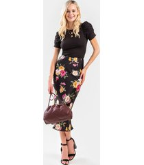 anetta floral satin midi skirt - black