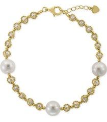 effy cultured freshwater pearl (3-1/2 & 10-1/2mm) link bracelet in 18k gold-plated sterling silver