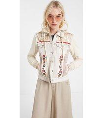 floral denim jacket - white - 46
