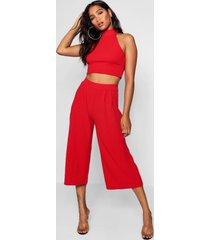 crop top met hoge hals en culottes set, rood