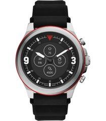 fossil men's tech latitude hr black silicone strap hybrid smart watch 48mm