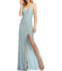 mac duggal women's sequin sheath gown - powder blue - size 10