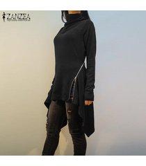 zanzea resorte de las mujeres suéter superior del puente tee camiseta de la túnica de la llamarada alto bajo la blusa -negro