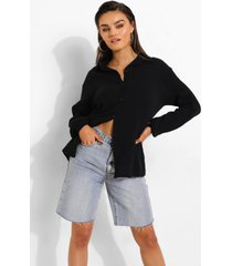 blouse met textuur en open rug, black