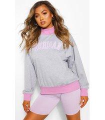 contrasterende michigan sweater, grijs gemêleerd