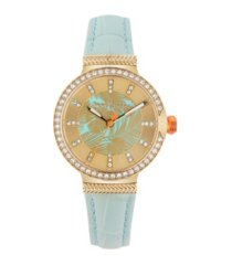 tommy bahama women's woven fronds crystal blue leather strap watch, 32mm