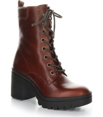 women's fly london tiel combat boot, size 8-8.5us - burgundy
