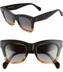 celine 50mm polarized square sunglasses in matte black/smoke polarized at nordstrom