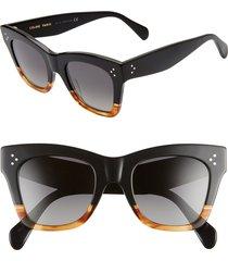 women's celine 50mm square sunglasses - matte black/ smoke polarized