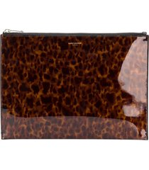 saint laurent tortoiseshell-effect zipped clutch - brown