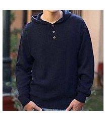 men's alpaca blend sweater, 'midnight blue' (peru)
