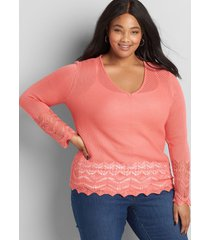 lane bryant women's pointelle-stitch pullover sweater 14/16 sun kissed coral